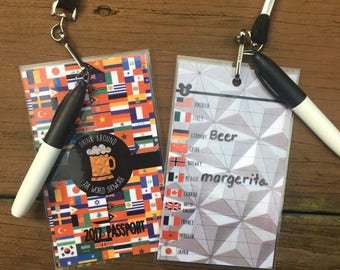 Drink Around the World Showcase Epcot Passport with Lanyard and Marker - BEER DRINKERS -