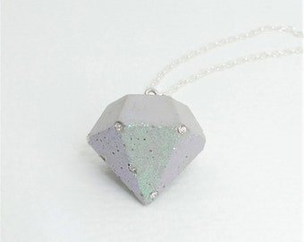 Necklace concrete & BLING-BLING - big diamond - glass crystals - gift -.