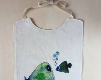 Pure linen bib with fish. Watercolor print