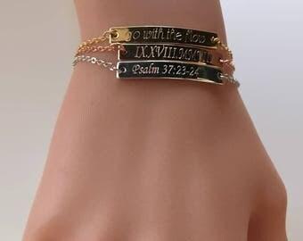 Skinny bar bracelet, personalized bracelet, mom grandma bracelet gift, bridesmaid bracelet gift, name initial bracelet, date bracelet