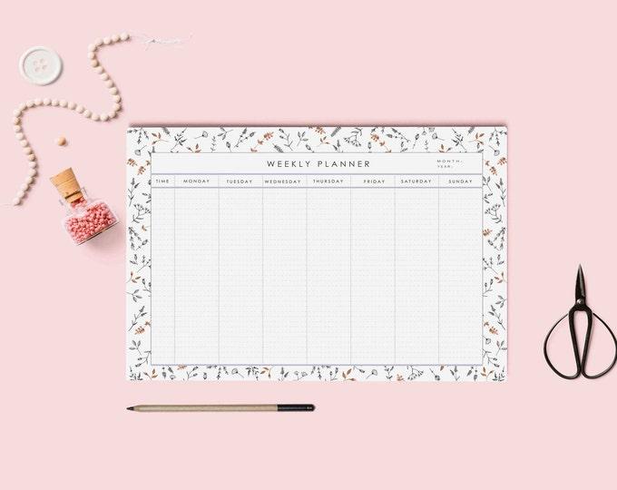 Weekly calendar printable | Desk Planner | Weekly Planner | Pdf Weekly planner A4 and letter size | Instant download.