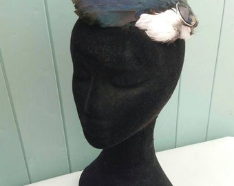 Handmade, real magpie wing feather, fascinator, decorated hair clip, slide, accessory,wedding,races.