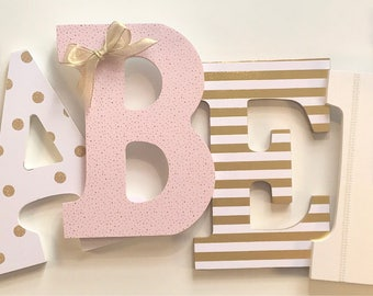 Gold Pink White Nursery Letters