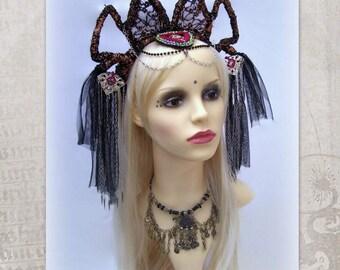Tribal Fusion Headdress, Dark Fusion Headdress, Goth Headband, Festival Headdress, Fantasy, Bronze Crown, Tribal Belly Dance, Black Tulle