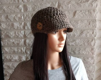 Women's newsboy hat, brown skater beanie hat, winter hat with brim, gifts for her, women's accessories, fall, winter, spring fashion