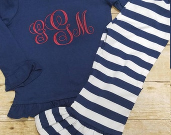 monogram shirt, toddler outfit, boutique outfit, monogram shirt and ruffle pants, striped pants outfit, monogram outfit, ruffle shirt