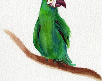 Green beak - Original Watercolor Painting