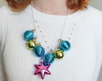 festive christmas necklace, christmas ornament necklace, ugly sweater party accessories, oversize party necklace, teal and magenta