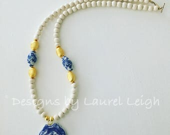 Chinoiserie Pendant Necklace | dragon, blue and white, gold, beaded, Designs by Laurel Leigh, one of a kind