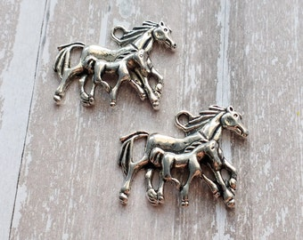 10 Mother and Baby Horse Charms Silver Horses Colt Charm - CS2996