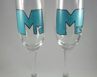 Hand Painted Couples Champagne Flutes