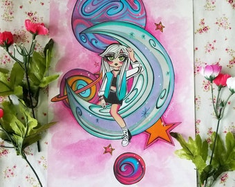 Abstract Space Galaxy Planet Punk Girl, Prismacolor Markers and Watercolor Painting, Original Anime Manga Kawaii Art Print by OscuraBella