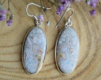 Crazy Lace Agate Earrings, Sterling Silver Earrings, Boho Earrings, Handmade Jewelry, Agate Earrings, Agate Jewelry, Gift for women, Agate