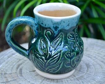 Green Vines Handmade Pottery Mug