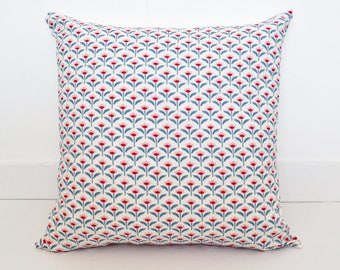 "Retro Floral Cushion Covers / Pillow Covers - 45x 45 cm (18"" x 18"") / Pale Pink, Blue and Red Geometric Flowers"
