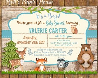 Digital file or Printed- Woodland Baby Shower Invitation-Baby Boy Woodland Animals Invitation-Forest Baby Shower Invitation-Free Shipping