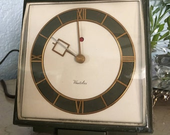 """1954 Westclox """"Byron"""" Electric Alarm Clock, Green Case, Perfect Working Condition, Rare Mid-Century Modern Find!"""