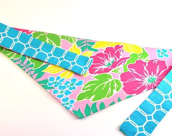 "Reversible Tie-On Dog Bandana - ""Tropical Flowers"""