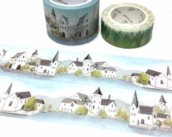 europe house landscape washi tape 5Mx 3cm fairy tale village Austria european style building nature green scenes sticker wide tape deco gift