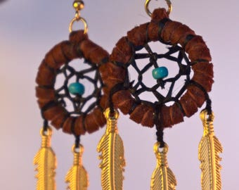 Dreamcatcher Earings - Handmade - The Open World Tribe - Brown and Gold - Mystic Jewelry