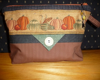 Project bag, FREE SHIPPING!!! Harvest gourds & pumpkins,  cosmetic bag, knitting bag