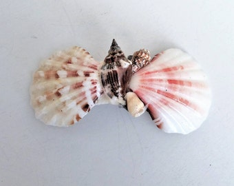 French Hair Barrette with Natural Sea Shells, Beach Barrette, Ocean Barrette