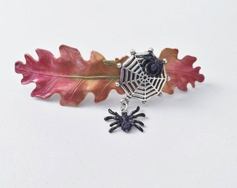 Spider Halloween Hair Barrette, Large, Fall leaf French clip