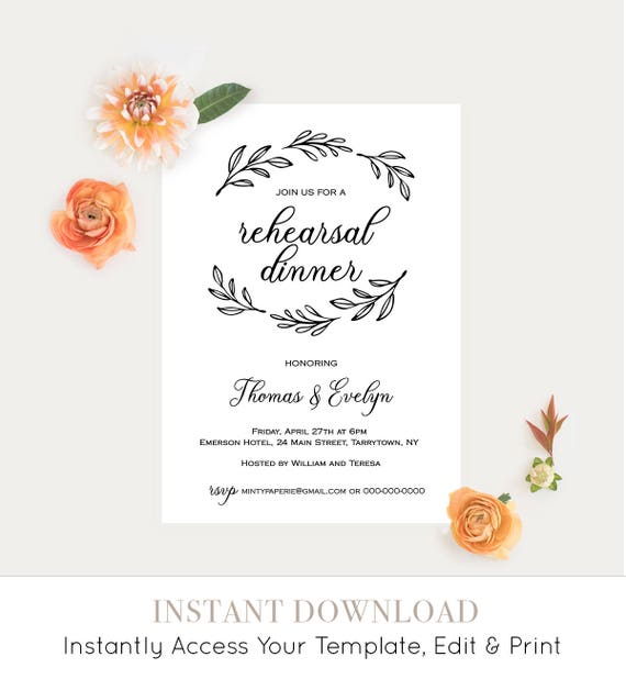 Rehearsal Dinner Invitation Printable, Rustic Wedding Rehearsal Invite, Fully Editable Template, Instant Download, Calligraphy #027-111RD