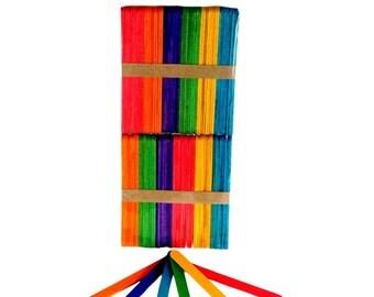 Lollipop Sticks wooden Assorted Colours 100pcs