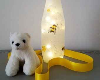 Free Shipping - Bottle Light, Kids Nightlight, Bottle Lamp, Upcycled Bottle, Lighted Bottle, Bee Design, Bee Light