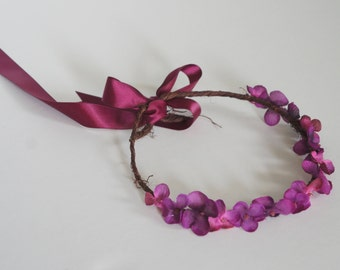 purple hydrangea floral wreath crown
