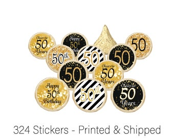 50th Birthday Party Decorations - 50th Birthday Gold & Black - 50th Birthday Favors - 50 Over the Hill Party - Cheers to 50 - 324 Stickers