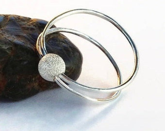 Unique Fidget Ring, Worry Ring, spinning Bead, Spinner Ring for Women, Sterling Silver, Anxiety Jewelry, Meditation Ring, Double Band Ring