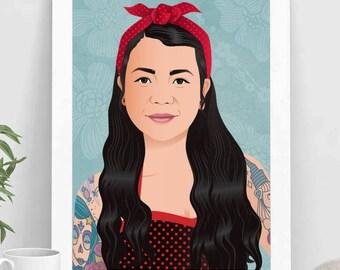 Custom portrait, Illustrated portrait, bust portrait, personalized portrait, woman portrait