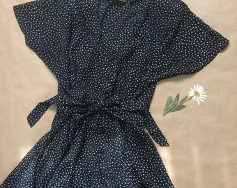 vintage black and white button up polka dot dress, waist tie, semi sheer, size xs - large