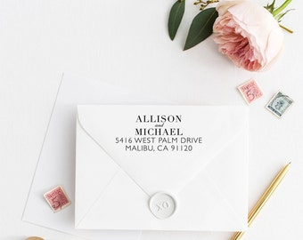 Custom Return Address Stamp, Self Ink Return Address Stamp, Personalized Address Stamp, Calligraphy Address Stamp Return Address Stamp No54