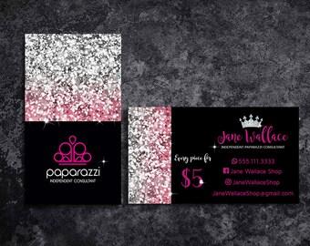 Paparazzi Business Cards Paparazzi Jewelry Paparazzi Accessories Paparazzi Consultant Black and Pink Black and Silver Glitter Business Cards