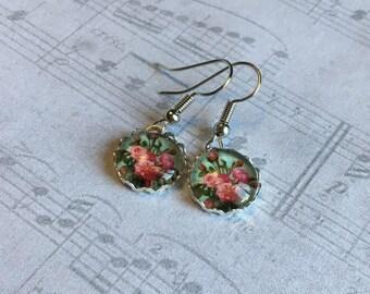 Flower Vintage Earrings, Flower Earrings, Flower Jewelry, Vintage Earrings, Vintage Rose Earrings, Gardening Gift, Gift for Botanist