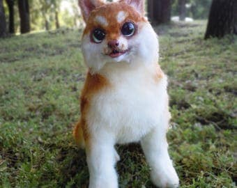 Fully Poseable OOAK Handmade Toy Husky Puppy, Animal Art Doll