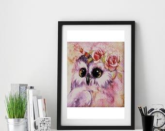 Watercolor Owl cross stitch pattern modern, Instant download PDF