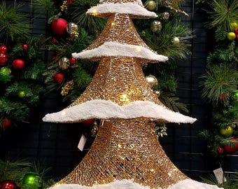 "ESE LED Lighted  pre-lit Snowy Flocked Tree, sparkling , Christmas Decoration Gold 40""H"