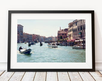 Large Travel Print, Venice Italy Photography, Grand Canal Prints, Large Wall Art, Gift for Traveler, Rialto Bridge Anniversary Gift