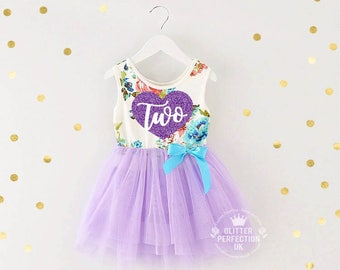 Second Birthday Dress,Toddler Tutu Dress, 2nd Birthday Dress,Two, Cake Smash Outfit,Party dress, Lavender-Heart, Purple Tutu