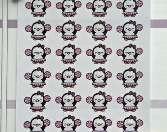 Poppy the penguin mini stickers - Cheerleader