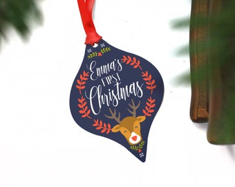 Baby's First Christmas Ornament Personalized - Unique Gift With Name - Metal Decor - Cute Ideas - From Aunt Uncle Cousin Students