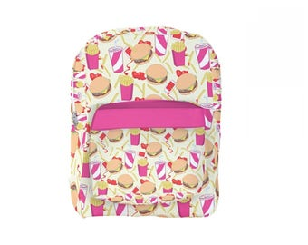 Burger Backpack Fast Food Leggings Junk Food Backpack Fries Soda Burgers *MTO, Month*