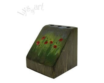 Red Poppy Pencil Holder,  Wooden Desktop Storage with Poppies Field