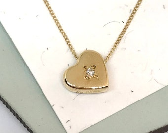 9ct Yellow Gold Diamond  Love Heart Necklace