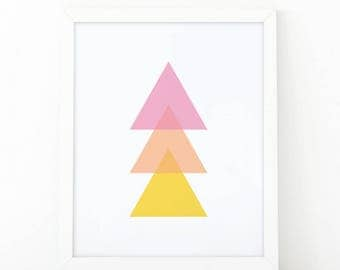 triangle colorful, minimalist art, geometric Wall Art, Printable Art, minimalist decor, Set of nursery Prints, Geometric Print, Abstract Art