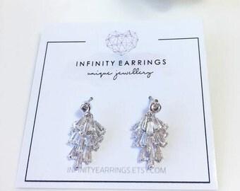 Crystal Cluster Earrings, Crystal Earrings, Tassel Crystal Earrings, Clear Crystal Earrings, Wedding Earrings, Bridesmaid  Crystal  Earrings